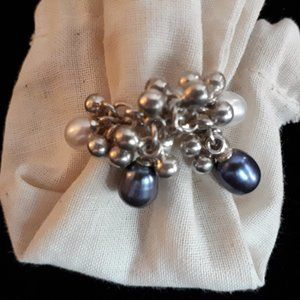 Freshwater Pearls and Silver bead Ring